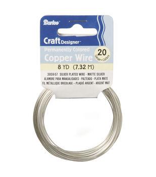 20G Copper Wire Slvr Plt Matte Slvr