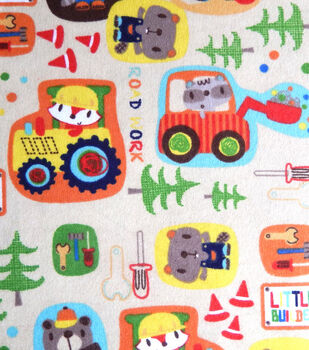 Snuggle Flannel Fabric-Little Builders