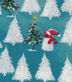 Christmas Cotton Fabric-Snowmen And Trees Glitter