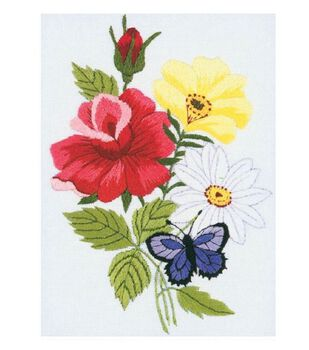 Janlynn Butterfly & Floral Embroidery Kit