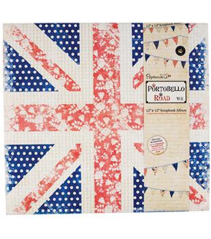 "Papermania Portobello Road Postbound Album 12""X12""-Union Jack W/10 Page Protectors"
