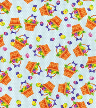 Easter Print Fabric-Egg Filled Baskets Blue
