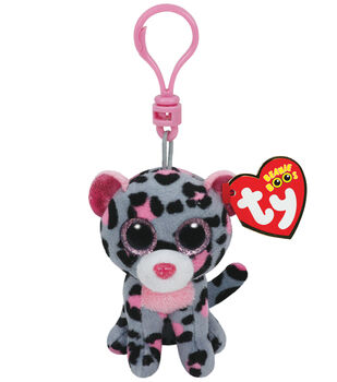 Ty Beanie Boos Tasha The Grey and Pink Leopard Clip