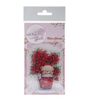 Wild Rose Studio Clear Stamps-Teddy In Pot