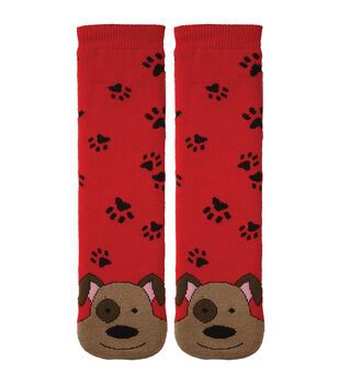 Tubular Novelty Socks-Dog-Red with Paw Prints
