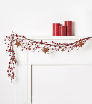 Blooming Holiday Berry Star Garland-Red, , hi-res