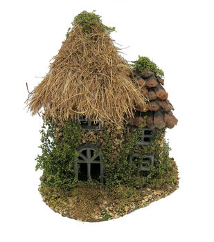 Fairy Garden Grass Pinecone Roof House