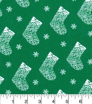 Keepsake Calico Christmas Cotton Fabric-Snowflakes And Stockings Grn