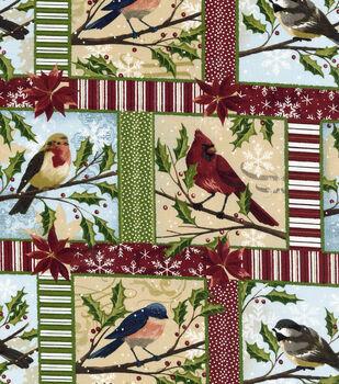 Christmas Cotton Fabric-Christmas Bird Blocks