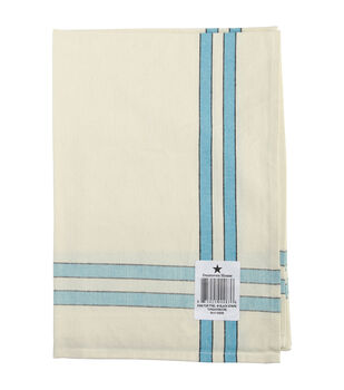 "Cream Towel 20""X28""-Turquoise Stripe"