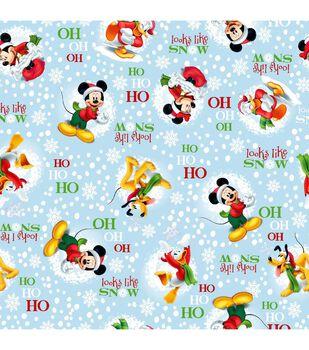 Holiday Inspirations Fabric-Christmas Mickey Looks Like Snow