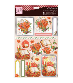 Anita's A4 Foiled Decoupage Sheet-Bible & Flowers