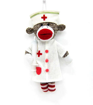 Maker's Holiday Sock Monkey Nurse Ornament