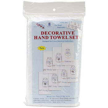 Stamped White Decorative Hand Towels Set Of 7-Mason Jars Days Of The Week