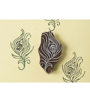 Blockwallah Block Stamp-Peacock Feather