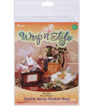 "Darice 30""x30"" Shrink Wrap Basket Bag-1PK/Clear"