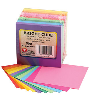 "Mighty Bright Cube Paper Pad 3""X3"" 500 Sheets/Cube-50 Sheets Each Of 10 Assorted Colors"