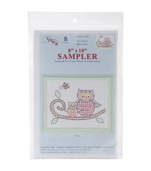 "Stamped White Sampler 8""X10""-Owls"