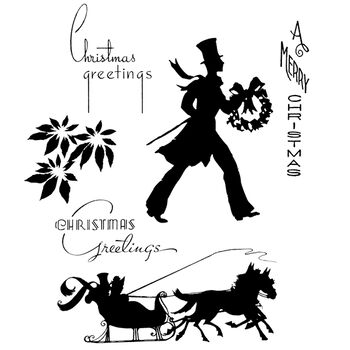 Stampers Anonymous Tim Holtz Cling Rubber Stamp Set Deco Christmas