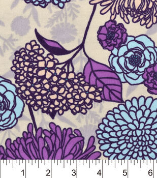 Snuggle Flannel Fabric-Purple Florals