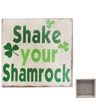 St. Patrick's Day Square Wood Block-Shake Your Shamrock