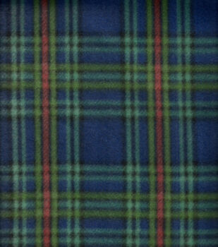 Blizzard Fleece Fabric Navy Green Plaid