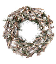 Blooming Holiday 12'' Twig Pine Wreath, , hi-res