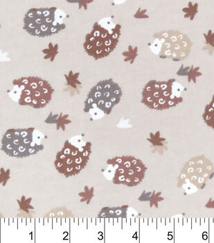 Snuggle Flannel Fabric-Multi Brown Hedgehogs