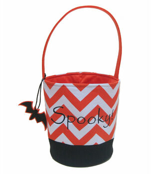 Maker's Halloween Treat Bag-Orange/White Chevron