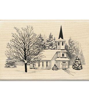Inkadinkado® Mounted Rubber Stamp-Church In Snow