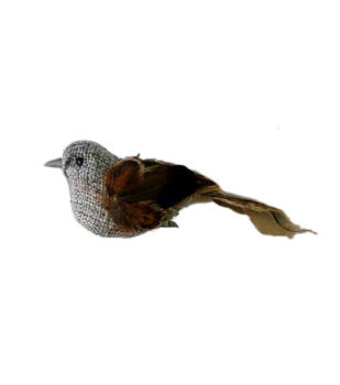 Blooming Autumn Feather Burlap Bird-Gray