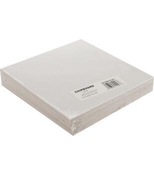 "Grafix 6""x6"" Medium Weight Chipboard Sheets-25PK/White"
