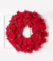 Blooming Holiday 24'' Poinsettia Wreath, , hi-res