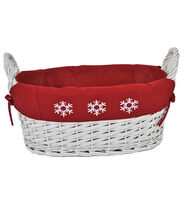 Maker's Holiday Large Snowflake Basket with Red Liner, , hi-res