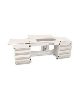 Homespun Bertha Sewing Machine Cabinet White