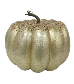 Pumpkin Boutique Large Crackle Beaded Pumpkin-Gold
