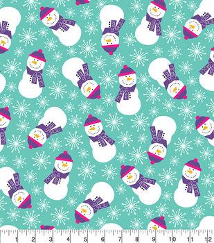 Snuggle Flannel Fabric 42''-Purple Scarf Snowmen