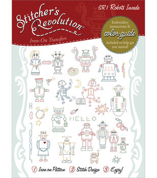 Aunt Martha's Sticher's Revolution Iron-On Transfers-Robots Invade
