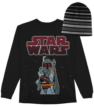 Star Wars Boba Pixel Long Sleeved Shirt with Hat