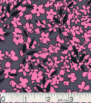 Keepsake Calico Fabric - Pink Floral On Gray, , hi-res