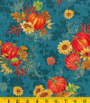 Harvest Fabric-Glitter Pumpkin Patch on Teal Print