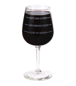 K1C2 Stitch Happy Wine Glass In Box 12 oz-Don't Give A Stitch