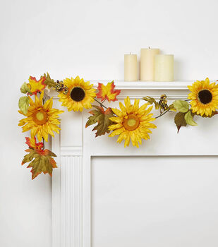 Blooming Autumn 66'' Sunflower, Berry & Leaf Garland-Yellow