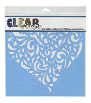 Clear Scraps 12''x12'' Stencils-Swirl Heart