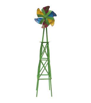 Fairy Garden Metal Windmill Tower-Green