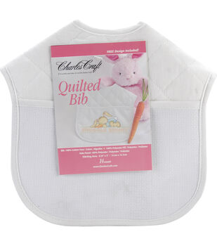 "Quilted Baby Bibs 9""X9""-White With Solid White Trim"