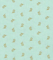 Keepsake Calico™ Cotton Fabric-Flowers On Mint With Gold Metallic, , hi-res