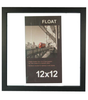 12x12 wood float frame black