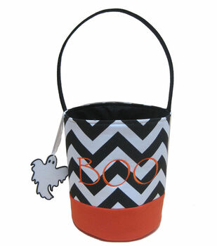 Maker's Halloween Treat Bag-Black/White Chevron