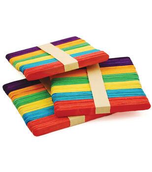 "Craft Popsicle Sticks Assorted Colors-4.5"" 150/pkg"